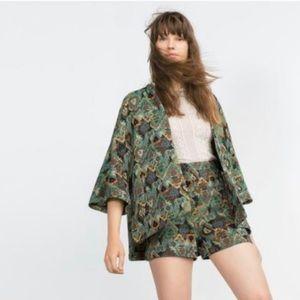 Zara Basic Outerwear Tapestry Cardigan Jacket M